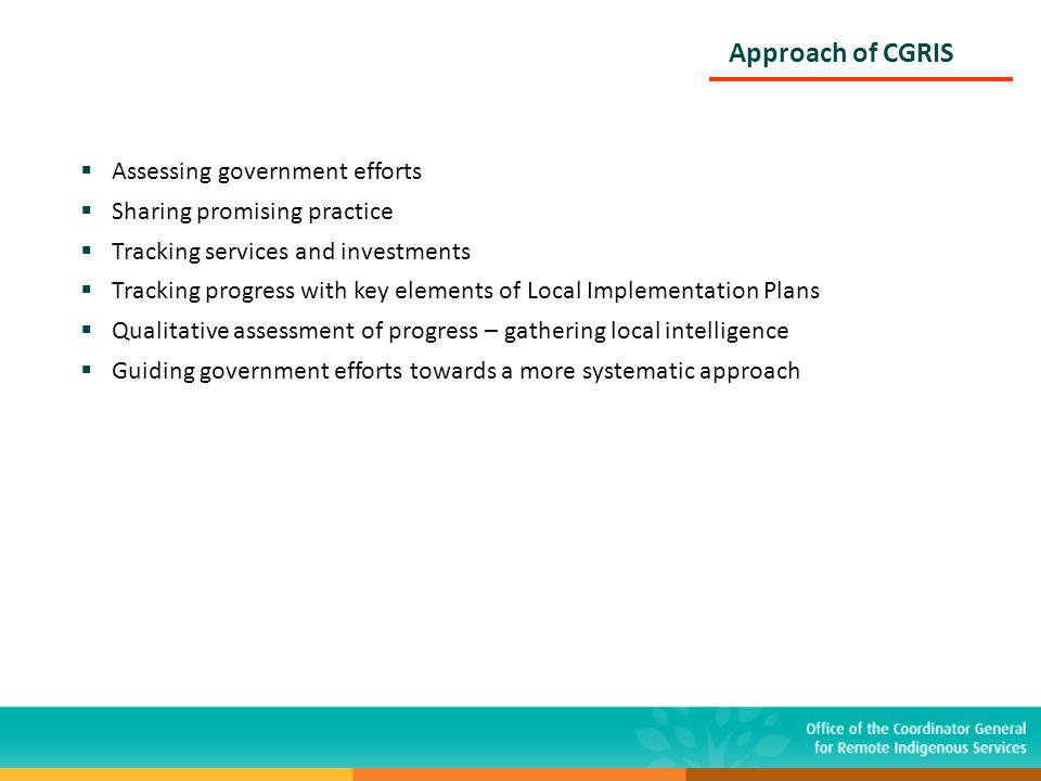 Approach of CGRIS  Assessing government efforts  Sharing promising practice  Tracking services and investments  Tracking progress with key element