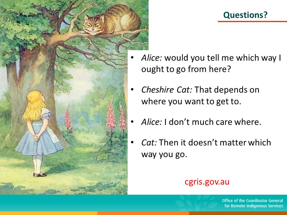 Questions? Alice: would you tell me which way I ought to go from here? Cheshire Cat: That depends on where you want to get to. Alice: I don't much car
