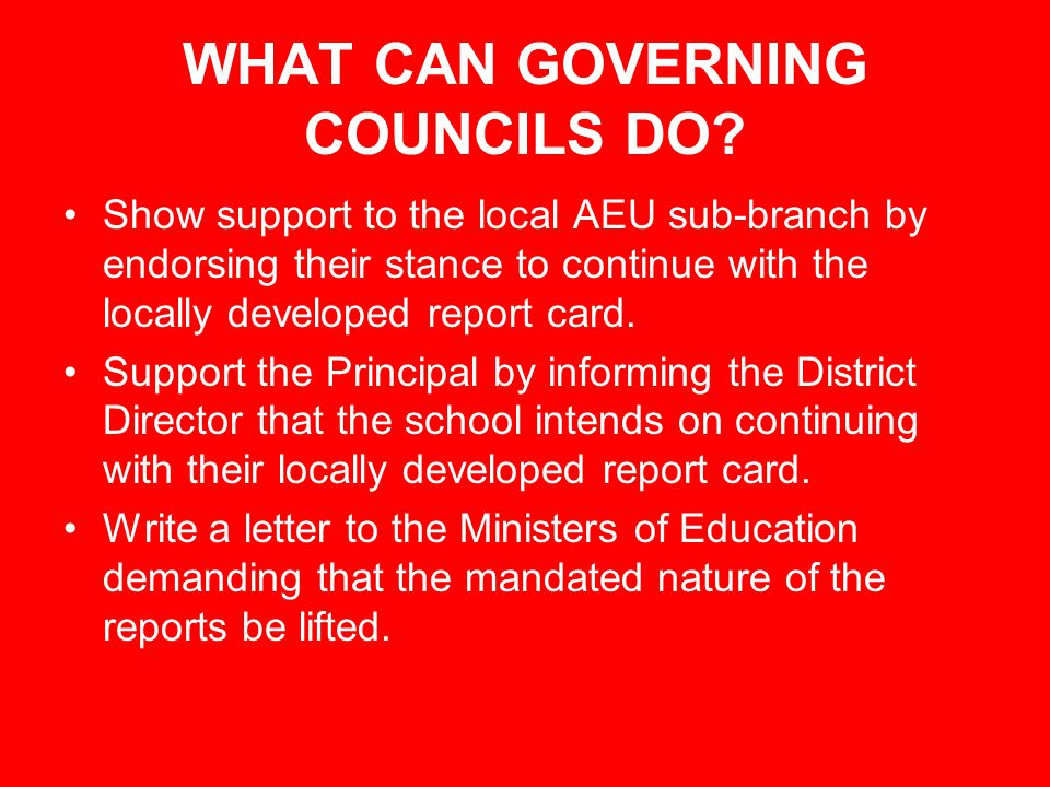 WHAT CAN GOVERNING COUNCILS DO.