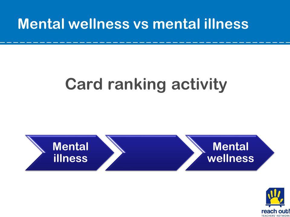 Mental wellness vs mental illness Card ranking activity Mental illness Mental wellness