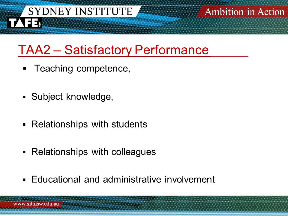 Ambition in Action www.sit.nsw.edu.au TAA2 – Satisfactory Performance  Teaching competence,  Subject knowledge,  Relationships with students  Rela