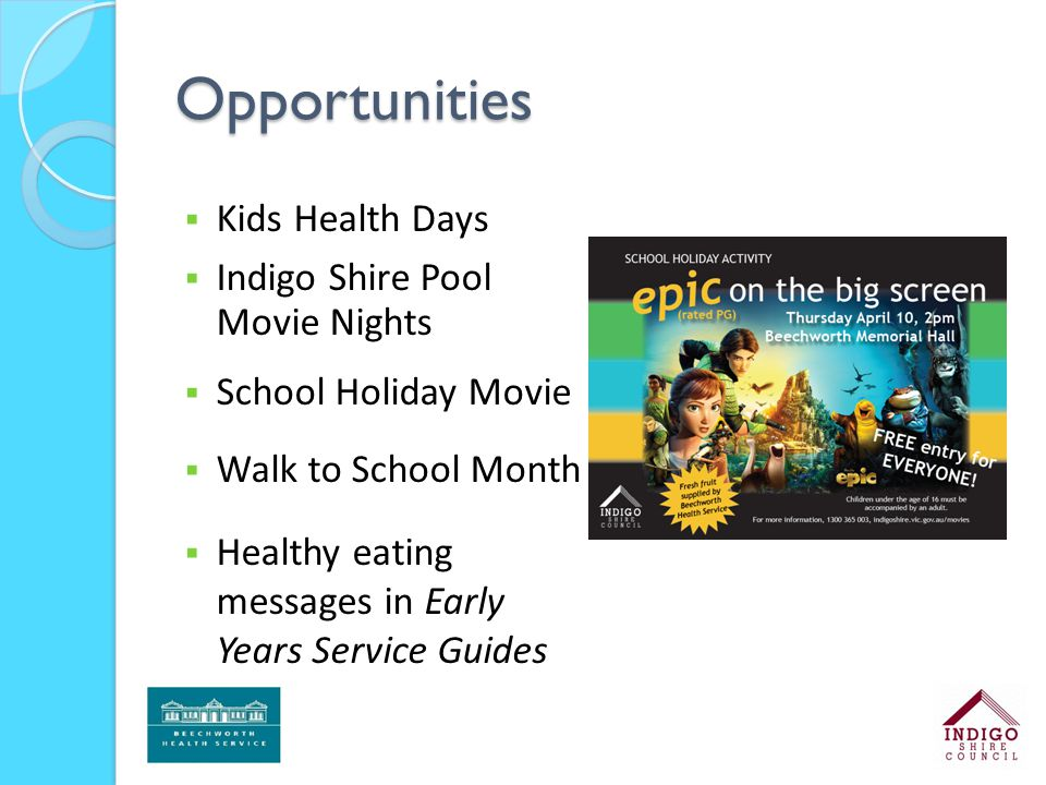 Opportunities  Kids Health Days  Indigo Shire Pool Movie Nights  School Holiday Movie  Walk to School Month  Healthy eating messages in Early Yea