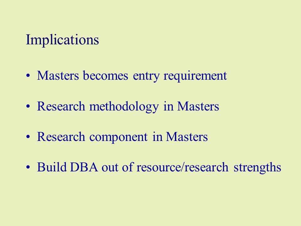 Implications Masters becomes entry requirement Research methodology in Masters Research component in Masters Build DBA out of resource/research strengths