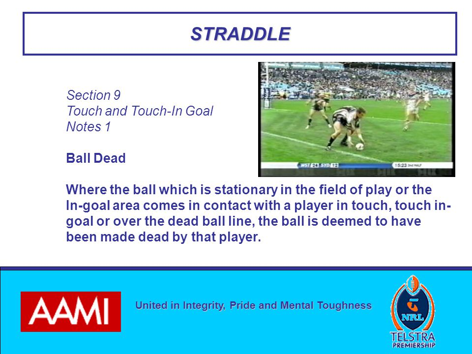 United in Integrity, Pride and Mental Toughness STRADDLE Section 9 Touch and Touch-In Goal Notes 1 Ball Dead Where the ball which is stationary in the field of play or the In-goal area comes in contact with a player in touch, touch in- goal or over the dead ball line, the ball is deemed to have been made dead by that player.