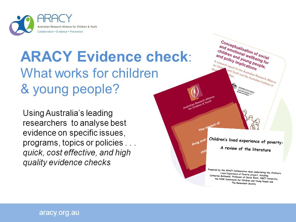 Using Australia's leading researchers to analyse best evidence on specific issues, programs, topics or policies...