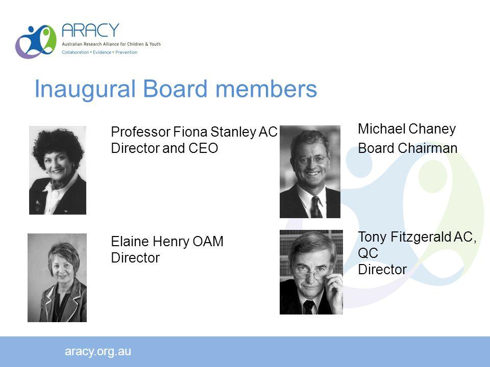 Professor Fiona Stanley AC Director and CEO aracy.org.au Michael Chaney Board Chairman Elaine Henry OAM Director Tony Fitzgerald AC, QC Director Inaugural Board members