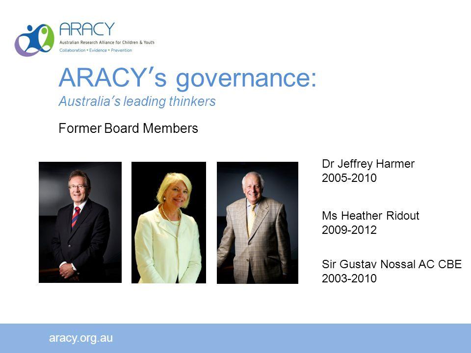 aracy.org.au Dr Jeffrey Harmer 2005-2010 Ms Heather Ridout 2009-2012 Sir Gustav Nossal AC CBE 2003-2010 ARACY's governance: Australia's leading thinkers Former Board Members