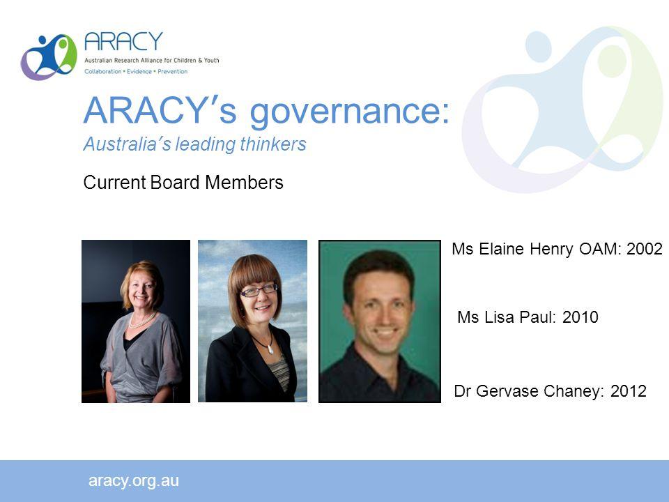 aracy.org.au Ms Elaine Henry OAM: 2002 Ms Lisa Paul: 2010 Dr Gervase Chaney: 2012 ARACY's governance: Australia's leading thinkers Current Board Members