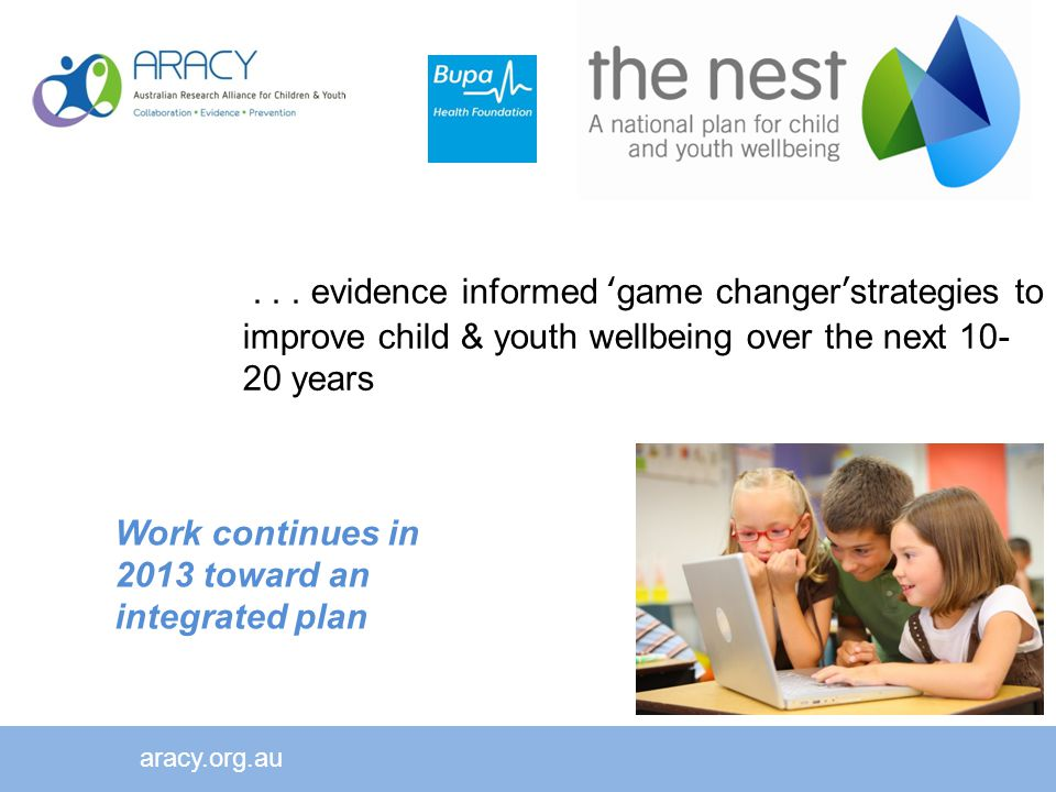 aracy.org.au Work continues in 2013 toward an integrated plan...