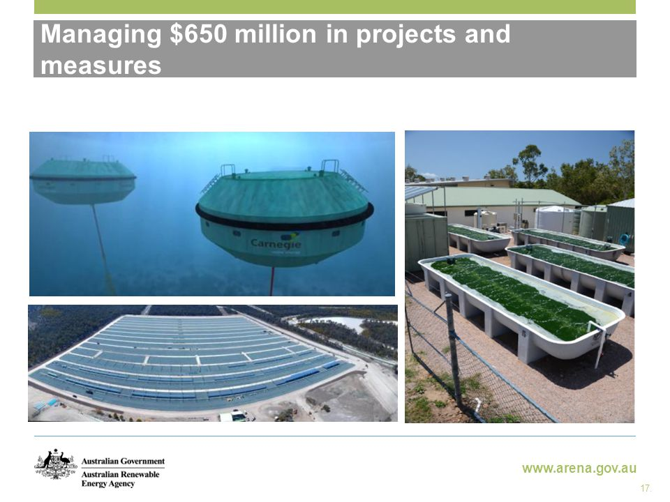 www.arena.gov.au Managing $650 million in projects and measures 17.