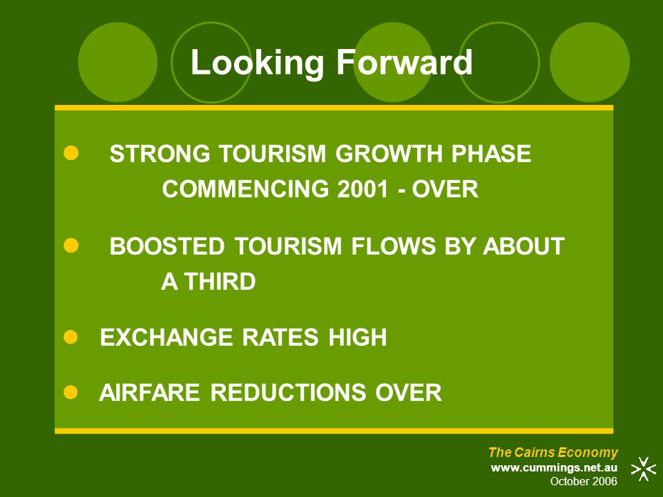 Looking Forward The Cairns Economy www.cummings.net.au October 2006 STRONG TOURISM GROWTH PHASE COMMENCING 2001 - OVER BOOSTED TOURISM FLOWS BY ABOUT A THIRD EXCHANGE RATES HIGH AIRFARE REDUCTIONS OVER