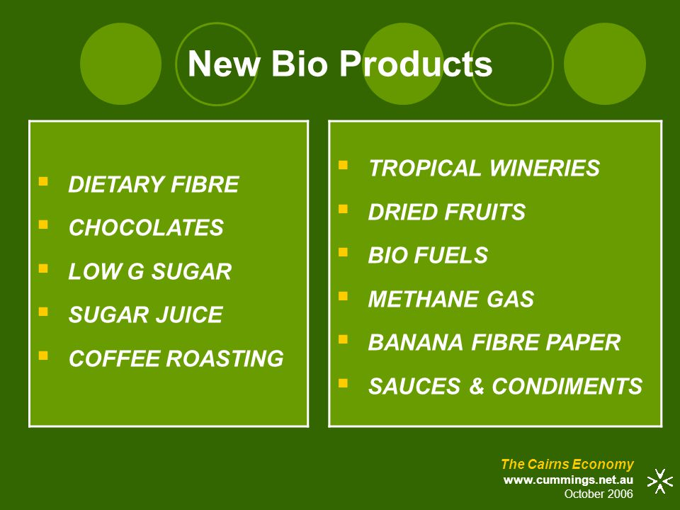 New Bio Products  DIETARY FIBRE  CHOCOLATES  LOW G SUGAR  SUGAR JUICE  COFFEE ROASTING The Cairns Economy www.cummings.net.au October 2006  TROPICAL WINERIES  DRIED FRUITS  BIO FUELS  METHANE GAS  BANANA FIBRE PAPER  SAUCES & CONDIMENTS