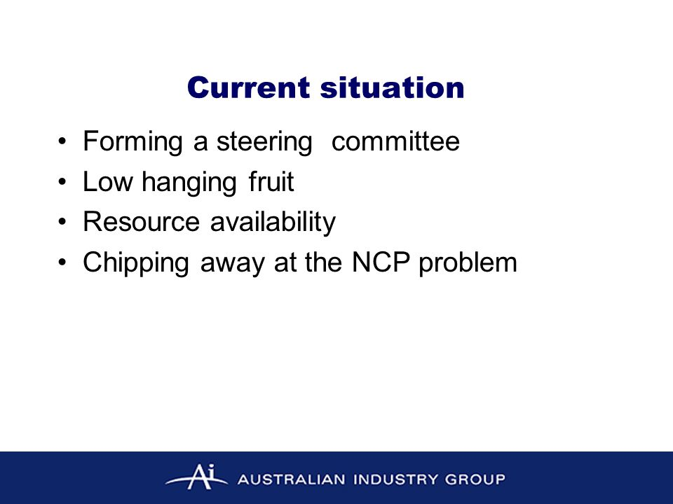 Forming a steering committee Low hanging fruit Resource availability Chipping away at the NCP problem Current situation