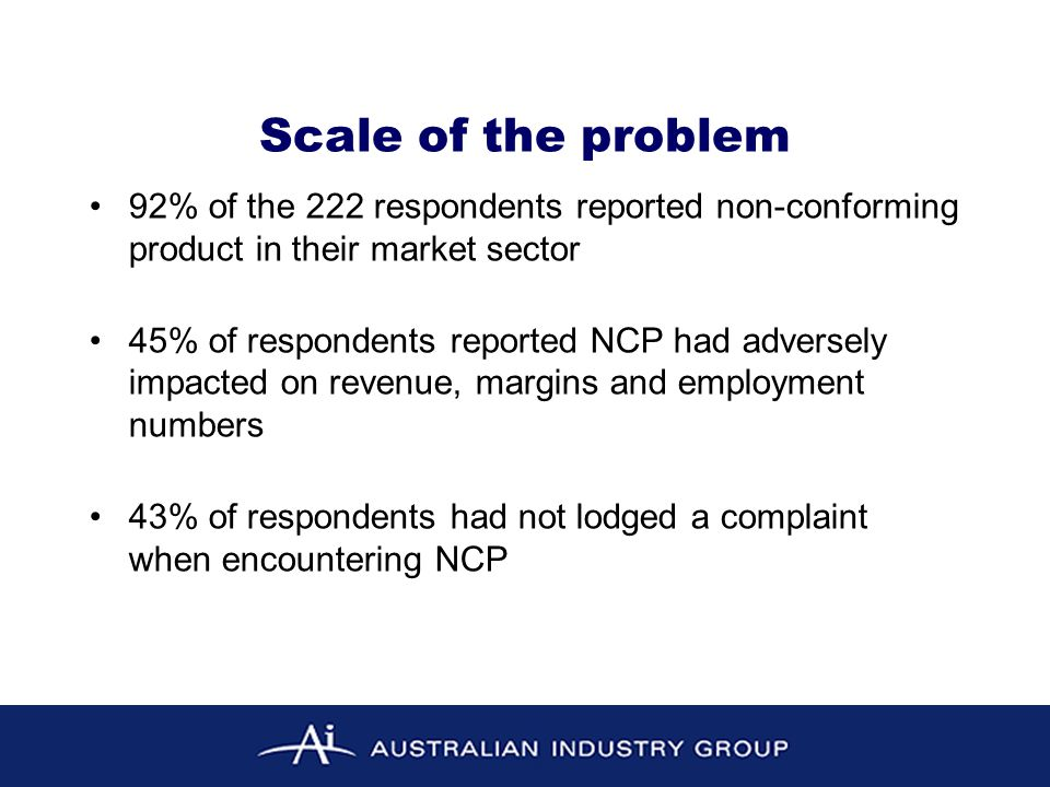 Weaknesses and failure points Inadequate: surveillance, audit, testing, first party certification and enforcement Building certifiers bear a disproportionate share of burden for product conformance – too much emphasis on identifying conformance post installation Confusion among stakeholders on who has regulatory responsibility and what recourse there is when NCP is found