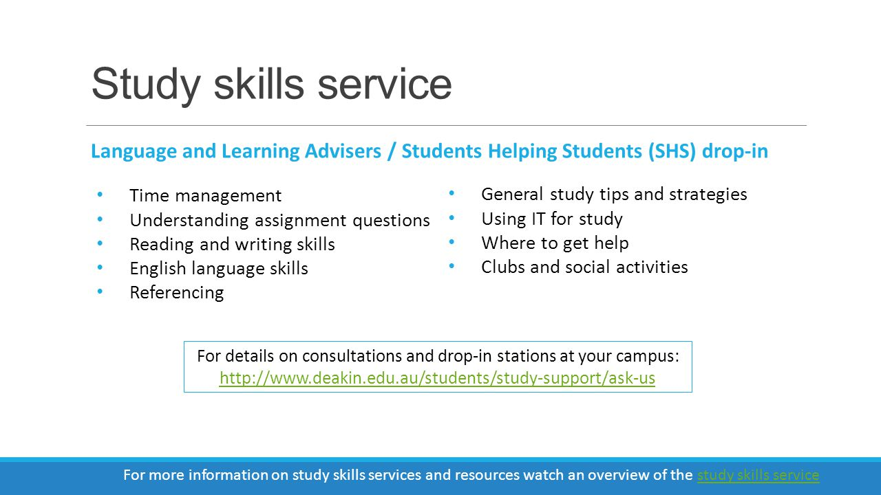 Where to find us http://www.deakin.edu.au/students/study-support
