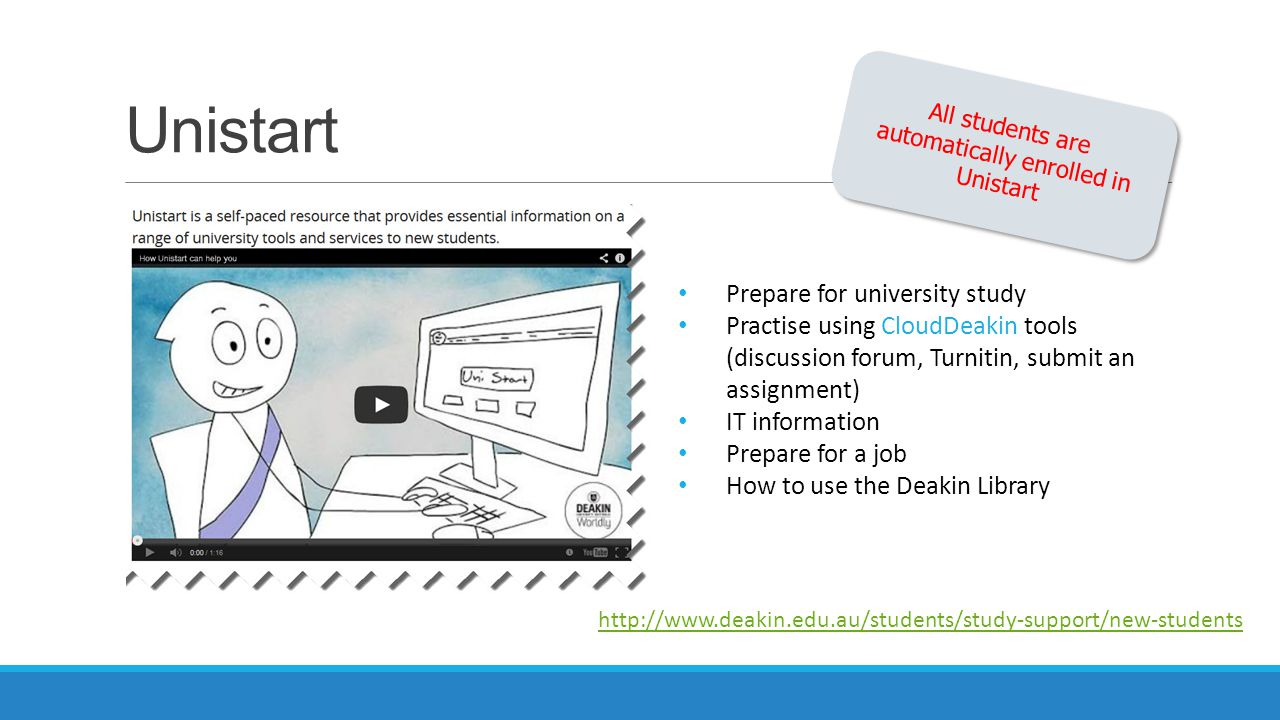 Unistart Prepare for university study Practise using CloudDeakin tools (discussion forum, Turnitin, submit an assignment) IT information Prepare for a