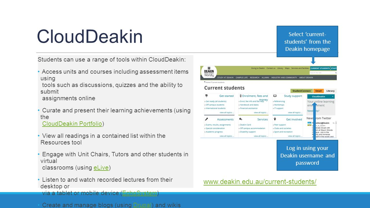 CloudDeakin Students can use a range of tools within CloudDeakin: Access units and courses including assessment items using tools such as discussions,