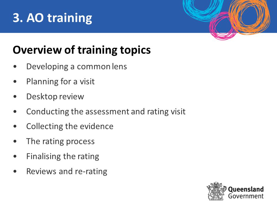 Overview of training topics Developing a common lens Planning for a visit Desktop review Conducting the assessment and rating visit Collecting the evi