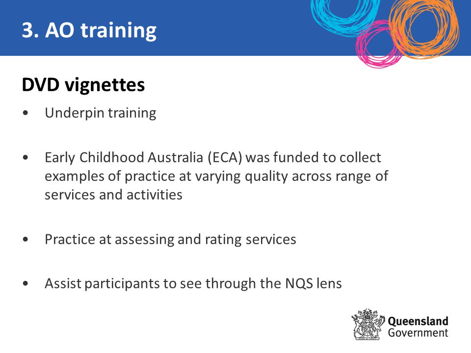 DVD vignettes Underpin training Early Childhood Australia (ECA) was funded to collect examples of practice at varying quality across range of services