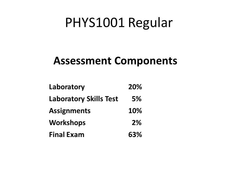 PHYS1001 Regular Assessment Components Laboratory20% Laboratory Skills Test 5% Assignments10% Workshops 2% Final Exam63%