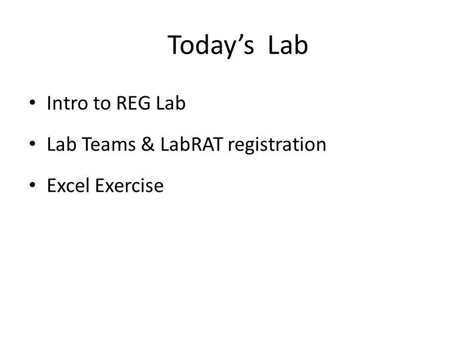 Today's Lab Lab Teams & LabRAT registration Intro to REG Lab Excel Exercise