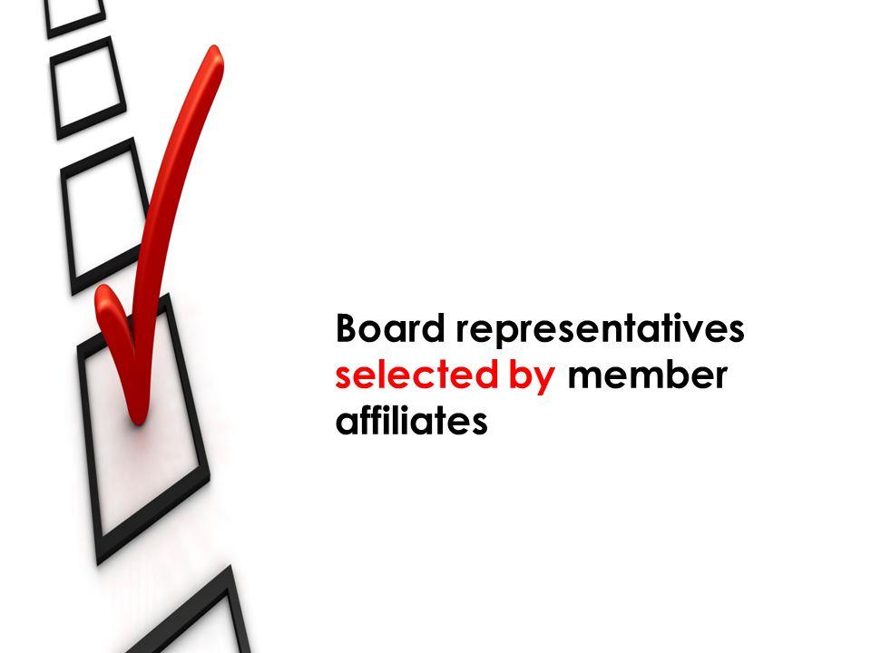 Board representatives selected by member affiliates