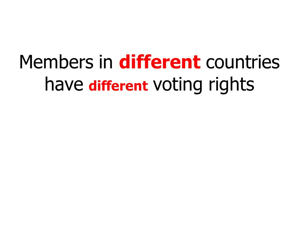 Members in different countries have different voting rights
