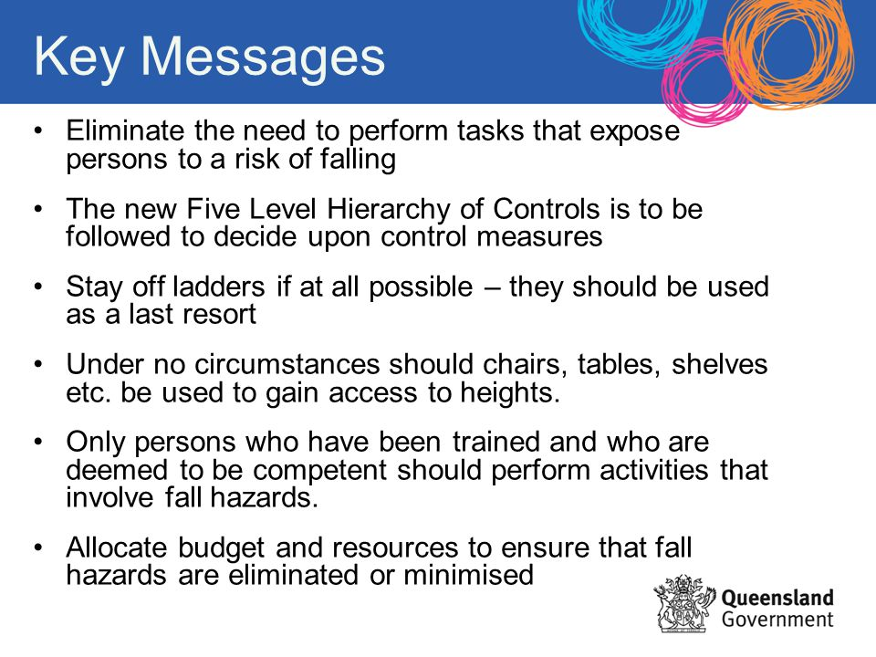 Key Messages Eliminate the need to perform tasks that expose persons to a risk of falling The new Five Level Hierarchy of Controls is to be followed t