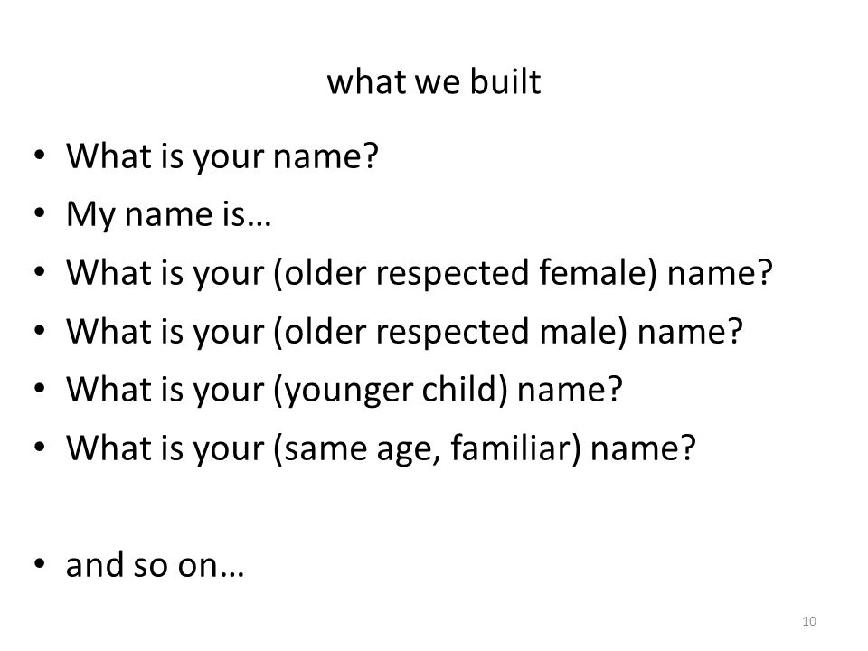 what we built What is your name. My name is… What is your (older respected female) name.