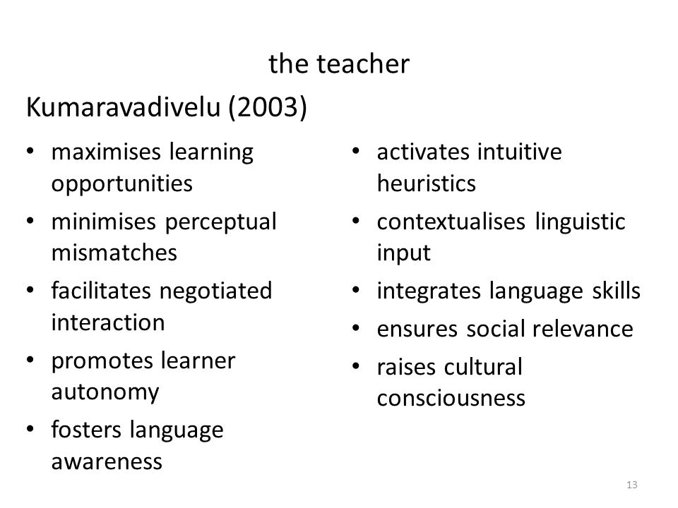the teacher maximises learning opportunities minimises perceptual mismatches facilitates negotiated interaction promotes learner autonomy fosters language awareness activates intuitive heuristics contextualises linguistic input integrates language skills ensures social relevance raises cultural consciousness Kumaravadivelu (2003) 13