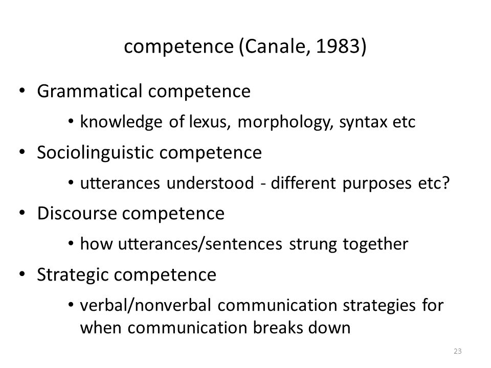 competence (Canale, 1983) Grammatical competence knowledge of lexus, morphology, syntax etc Sociolinguistic competence utterances understood - different purposes etc.
