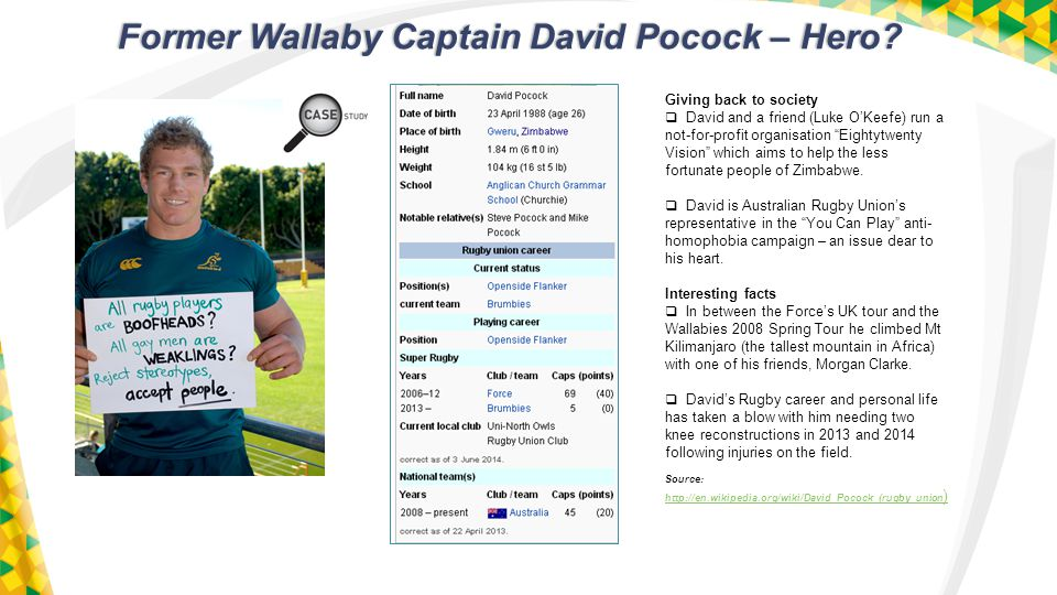 Former Wallaby Captain David Pocock – Hero.