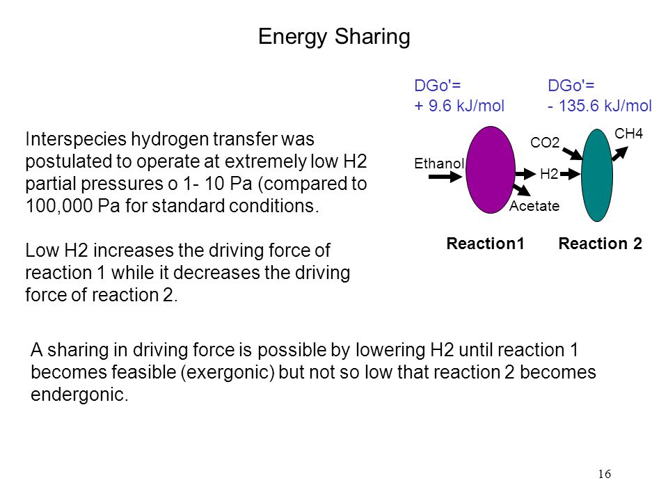 16 Interspecies hydrogen transfer was postulated to operate at extremely low H2 partial pressures o 1- 10 Pa (compared to 100,000 Pa for standard conditions.