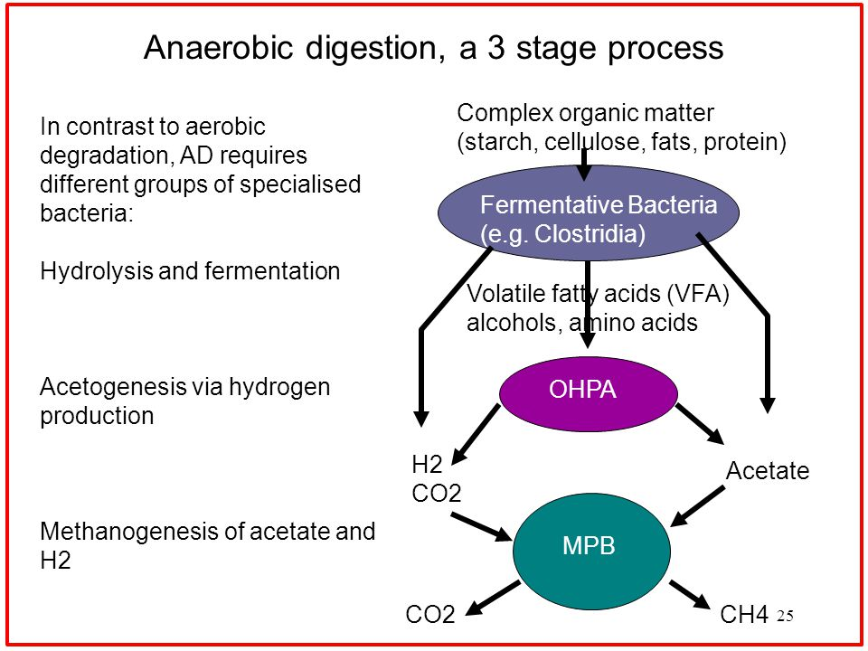 25 Anaerobic digestion, a 3 stage process In contrast to aerobic degradation, AD requires different groups of specialised bacteria: Hydrolysis and fermentation Acetogenesis via hydrogen production Methanogenesis of acetate and H2 Fermentative Bacteria (e.g.