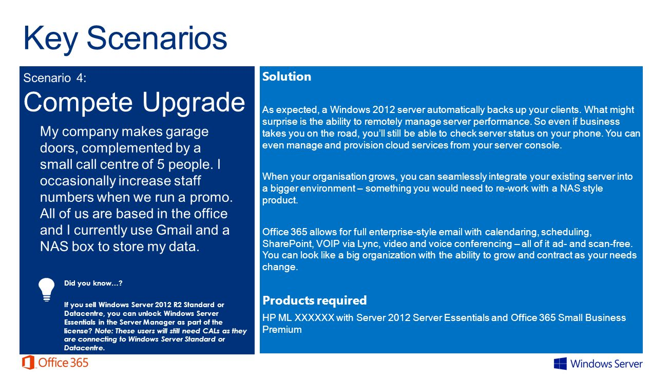 Key Scenarios Solution As expected, a Windows 2012 server automatically backs up your clients.