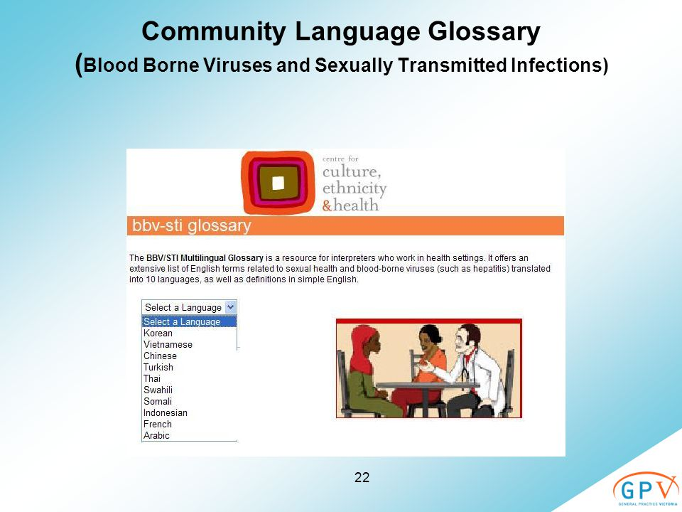 22 Community Language Glossary ( Blood Borne Viruses and Sexually Transmitted Infections)