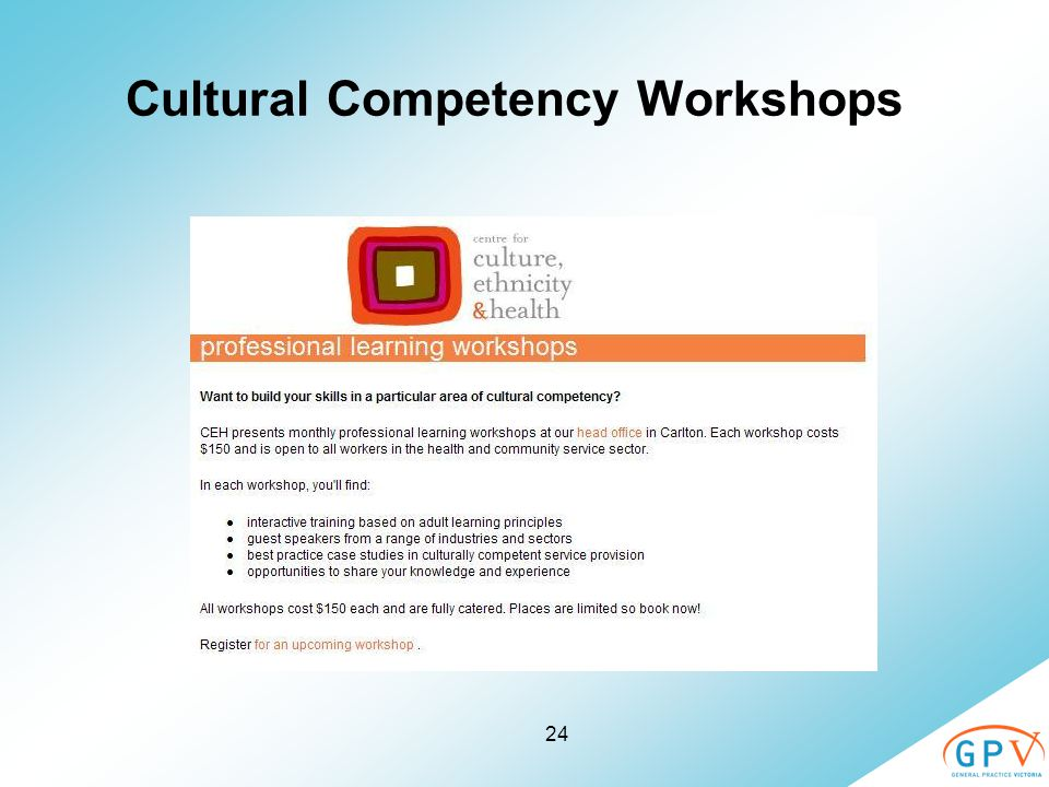 24 Cultural Competency Workshops