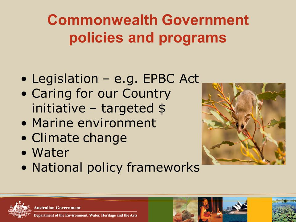 Commonwealth Government policies and programs Legislation – e.g.