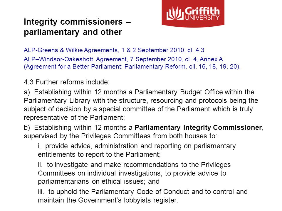 Integrity commissioners – parliamentary and other ALP-Greens & Wilkie Agreements, 1 & 2 September 2010, cl.