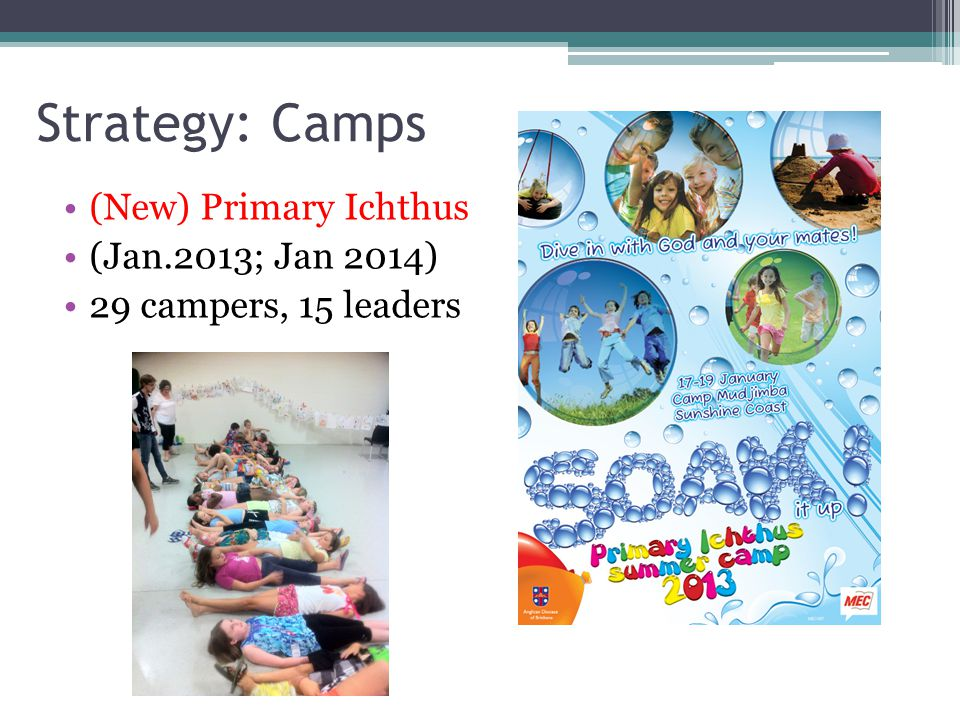 Strategy: Camps (New) Primary Ichthus (Jan.2013; Jan 2014) 29 campers, 15 leaders