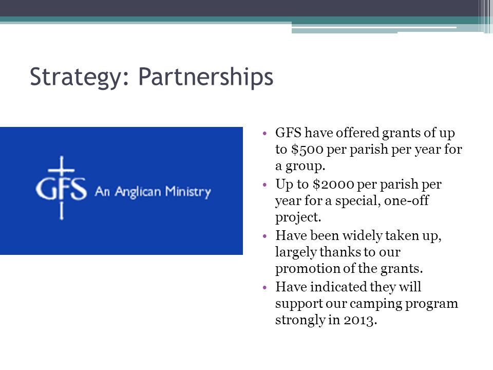 Strategy: Partnerships GFS have offered grants of up to $500 per parish per year for a group.