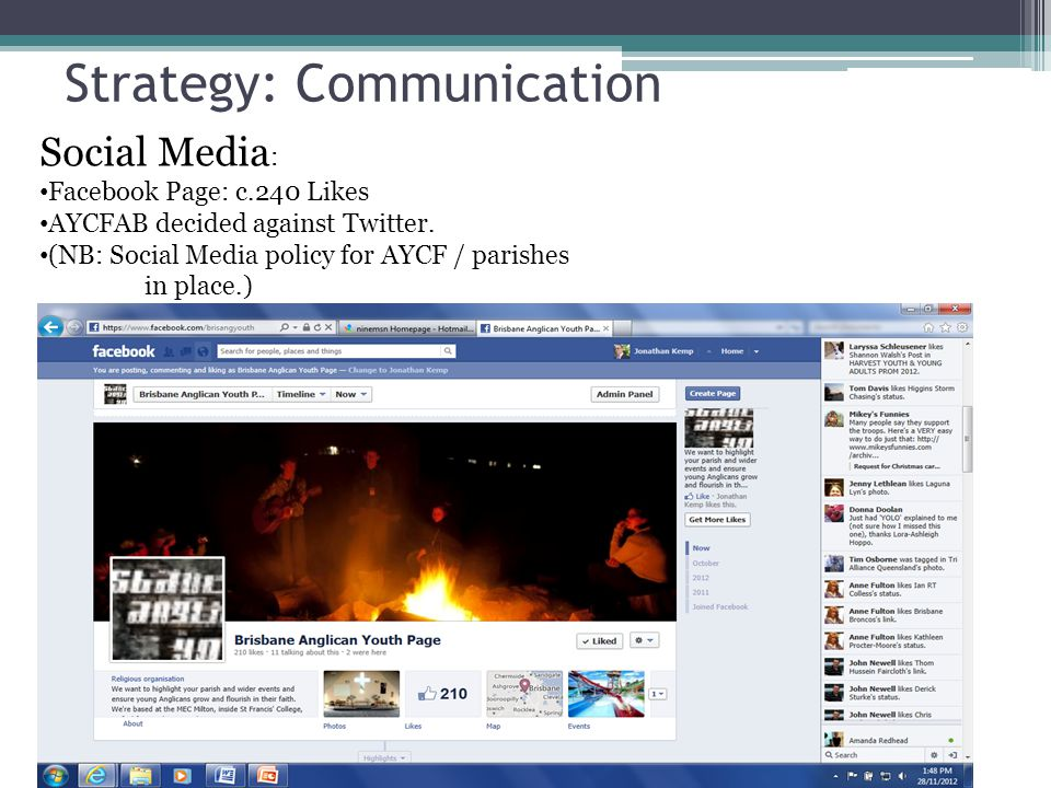 Strategy: Communication Social Media : Facebook Page: c.240 Likes AYCFAB decided against Twitter.