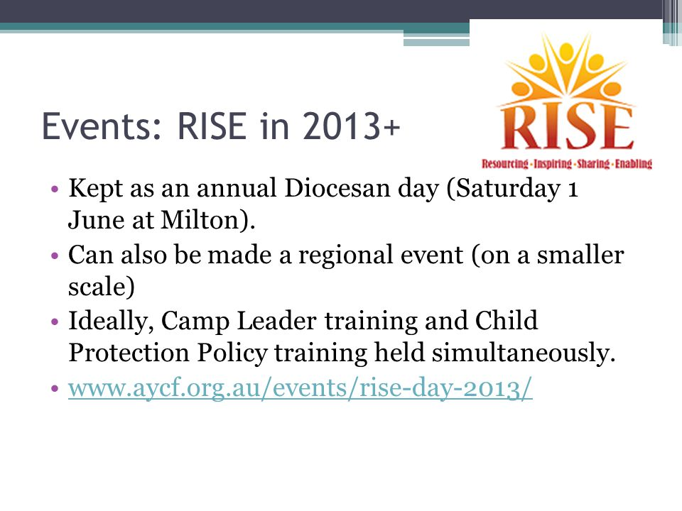 Events: RISE in 2013+ Kept as an annual Diocesan day (Saturday 1 June at Milton).
