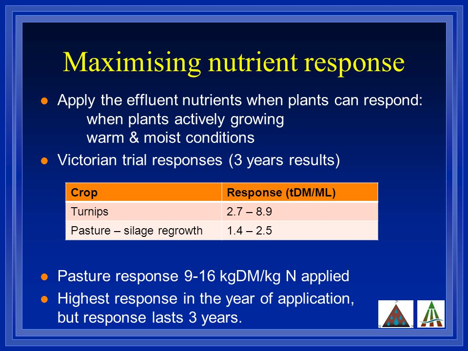 Maximising nutrient response Apply the effluent nutrients when plants can respond: when plants actively growing warm & moist conditions Victorian trial responses (3 years results) Pasture response 9-16 kgDM/kg N applied Highest response in the year of application, but response lasts 3 years.