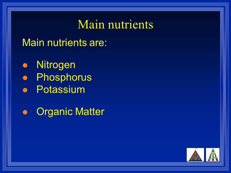 Main nutrients Main nutrients are: Nitrogen Phosphorus Potassium Organic Matter