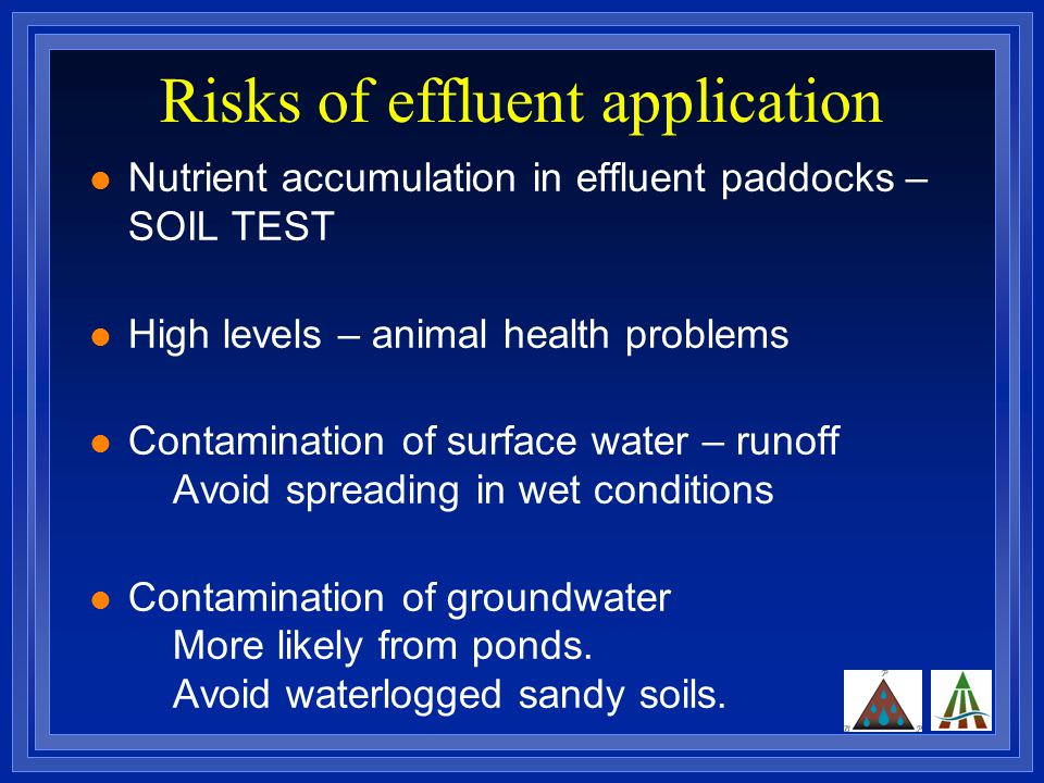 Risks of effluent application Nutrient accumulation in effluent paddocks – SOIL TEST High levels – animal health problems Contamination of surface water – runoff Avoid spreading in wet conditions Contamination of groundwater More likely from ponds.