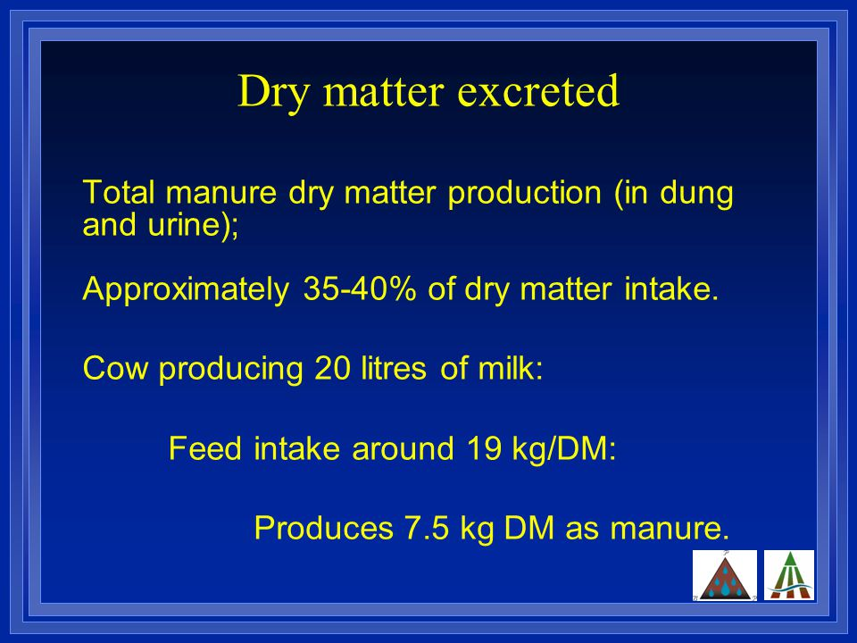 Dry matter excreted Total manure dry matter production (in dung and urine); Approximately 35-40% of dry matter intake.