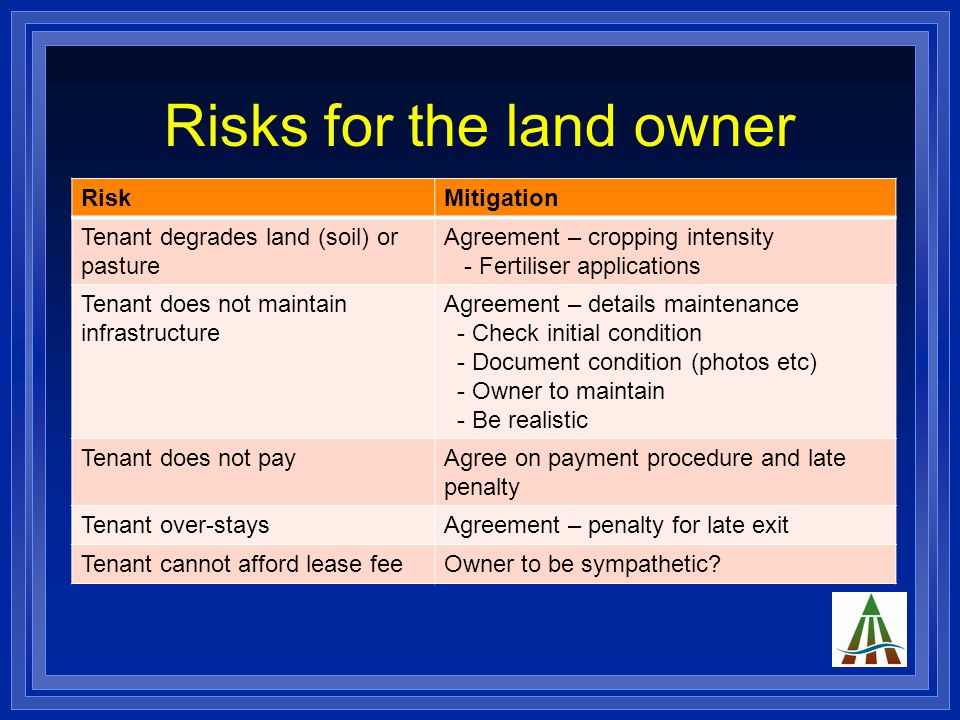 Risks for the land owner RiskMitigation Tenant degrades land (soil) or pasture Agreement – cropping intensity - Fertiliser applications Tenant does not maintain infrastructure Agreement – details maintenance - Check initial condition - Document condition (photos etc) - Owner to maintain - Be realistic Tenant does not payAgree on payment procedure and late penalty Tenant over-staysAgreement – penalty for late exit Tenant cannot afford lease feeOwner to be sympathetic