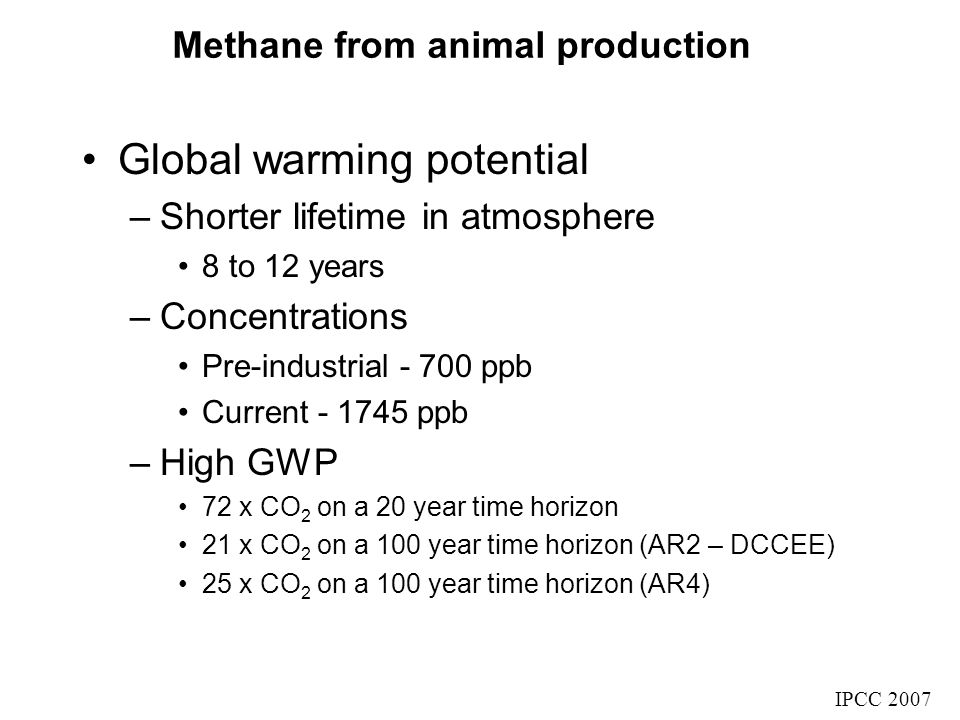 Methane from animal production Global warming potential –Shorter lifetime in atmosphere 8 to 12 years –Concentrations Pre-industrial - 700 ppb Current - 1745 ppb –High GWP 72 x CO 2 on a 20 year time horizon 21 x CO 2 on a 100 year time horizon (AR2 – DCCEE) 25 x CO 2 on a 100 year time horizon (AR4) IPCC 2007