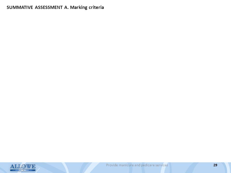 29Provide manicure and pedicare services SUMMATIVE ASSESSMENT A. Marking criteria